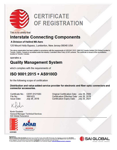 Interstate Connecting Components (ICC) Earns SAE AS9100 Revision D ...