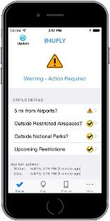 The FAA has created an app called B4UFLY to alert users to any restrictions of flying at the location they want to operate their UAS. Source: FAA