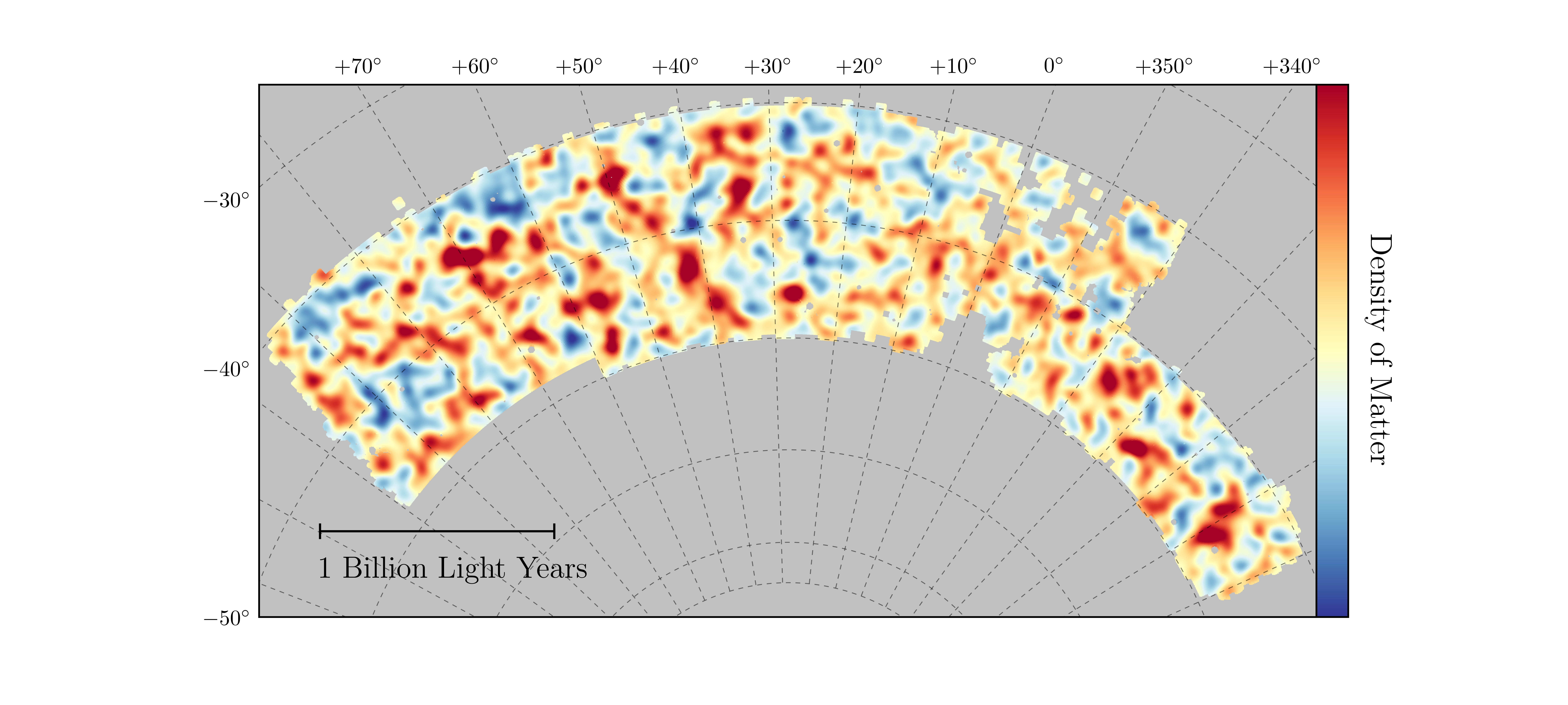 Map of dark matter made from gravitational lensing measurements of 26 million galaxies in the Dark Energy Survey. The map covers about 1/30th of the entire sky and spans several billion light years in extent. Red regions have more dark matter than average, blue regions less dark matter. Image credit: Chihway Chang of the Kavli Institute for Cosmological Physics at the University of Chicago, and the DES collaboration. (OSC)