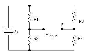 The Wheatstone bridge is sometime drawn in a rectangular style, which is electrically equivalent but lacks the traditional, more-common appearance. Image source: Author