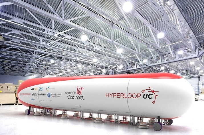 In this rendering, the University of Cincinnati's Hyperloop pod is seen as a finalized product for tube-based travel. Source: University of Cincinnati