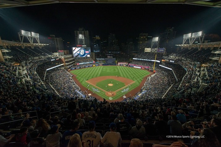 The SportsGreen LED lighting system allows players to track balls more easily,  makes  television broadcasts better and introduces show-time elements to the ball park. Source: Musco