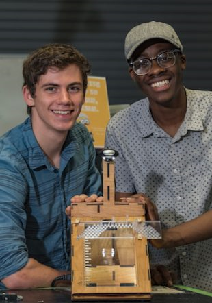 Engineering students developed a device to help patients with diabetes easily monitor their feet for cuts or other injuries. Source: Jeff Fitlow