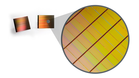 A look at a 3D XPoint Wafer close up. Source: Intel