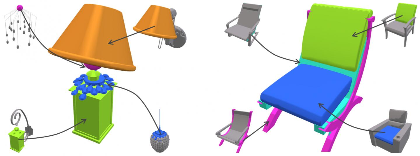A lamp and a chair fully automatically synthesized by component in the database. Source: SIGGRAPH ASIA