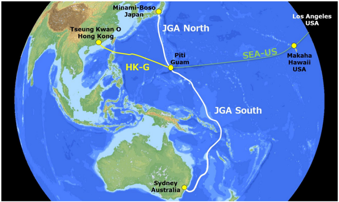 A map of JGA's planned route and its intersection with the SEA-US and HK-G cable systems. Source: RTI