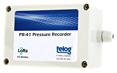 Trimble's Telog 41 series of wireless, battery-powered sensors for water-monitoring applications includes the Telog PR-41 Water Pressure Sensor pictured here. Other sensors in the series monitor water levels, flows and rainfall volumes. Image source: Trimble Inc.