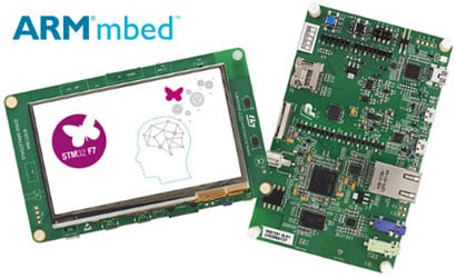STMicro's Discovery board features an ARM Cortex-M7 processor and an integrated touch-screen display.