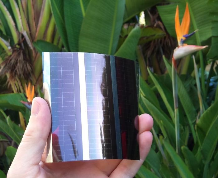 Printed solar cells made of flexible plastic could be grafted to clothing or mobile devices to provide an unlimited power source. Source: University of Melbourne