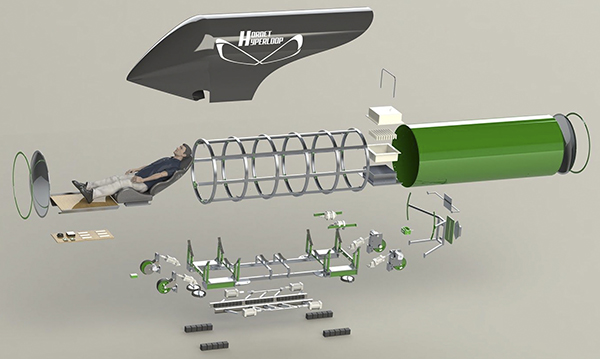 Sacramento State's prototype build of its Hyperloop pod. Source: CSU Sacramento
