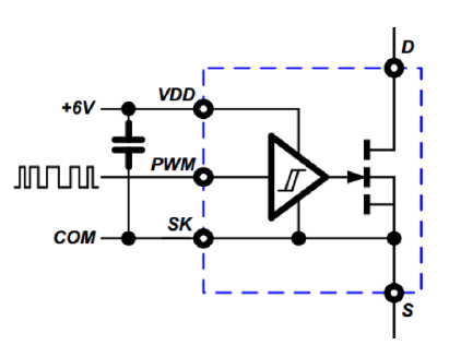 GaN-on-Si power IC combines gate drive and logic circuits with GaN power FETs on a single chip.