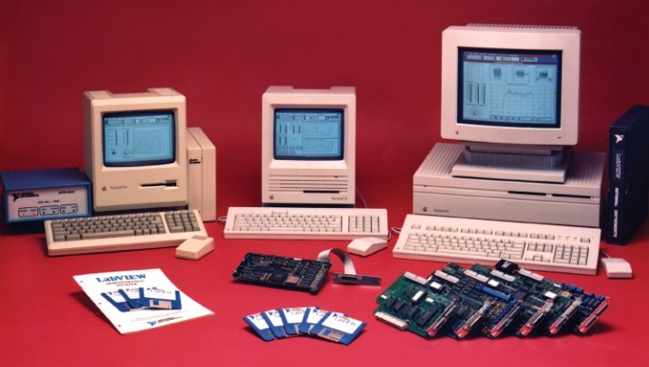 Macintosh computers running LabVIEW, c. 1990.  (Credit:  National Instruments)