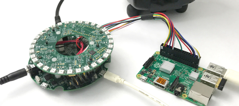 The 4-Microphone development kit prototyping on a Raspberry Pi board. Image credit: Conexant