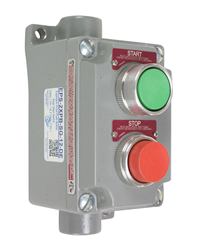 UL 698 listed, Larson Electronics's EPS-2XPB-SG-MS explosion-proof push-button switch is designed for use in oil and gas refineries, paint manufacturing plants, grain elevators and other areas where hazardous gases and dusts may be present. Image source: Larson Electronics.