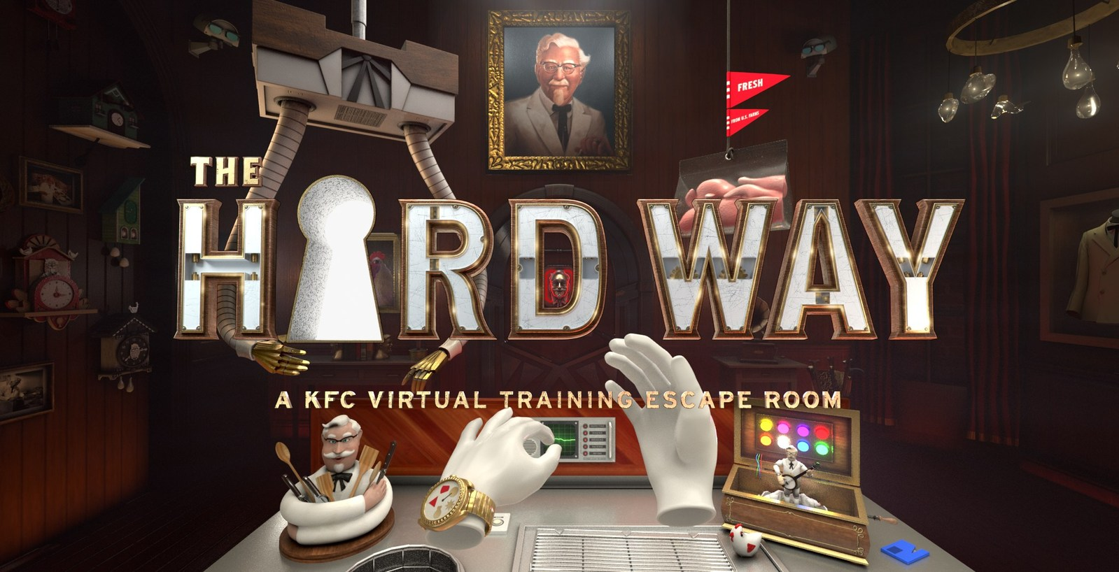 """The Hard Way"" virtual reality experience takes employee training to a new level to teach KFC cooks how to make fried chicken in a way the Colonel never could have imagined. Source: KFC"