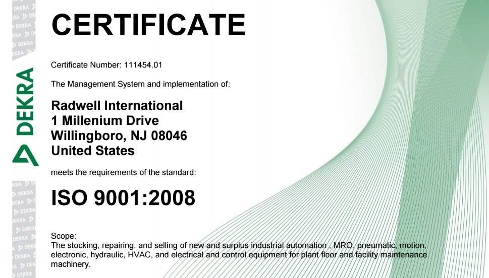 Radwell International proudly displays its ISO 9001 certification right on its website where customers can view it to understand the company's commitment to quality standards. Source: Radwell International