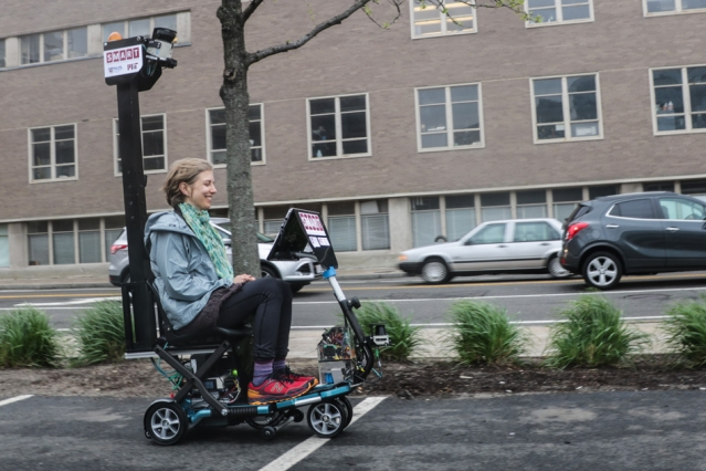 Users test a new autonomous scooter capable of navigating outside or indoors. / Courtesy of the Autonomous Vehicle Team of the SMART Future Urban Mobility Project
