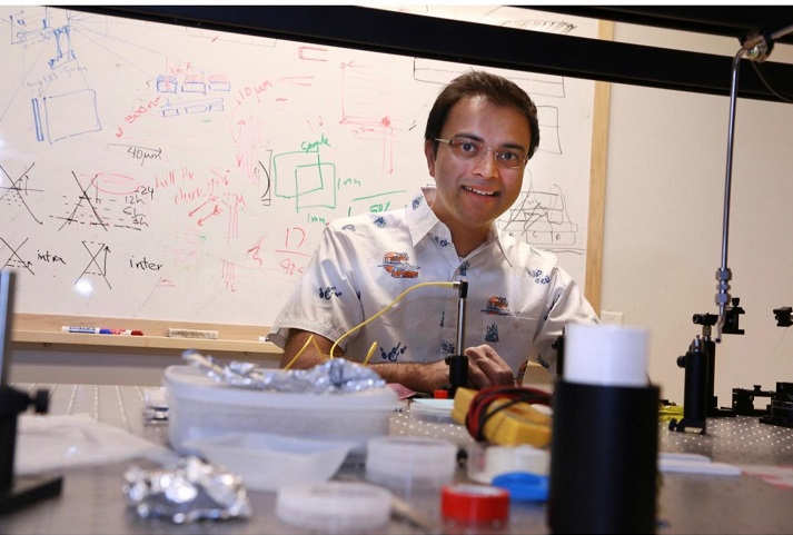 Rajesh Menon (pictured) and his team have developed a cloaking device for microscopic photonic integrated devices. (Image Credit: Dan Hixson/University of Utah College of Engineering)