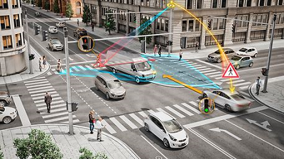 Vehicle-to-X communications and sensor technologies turn dangerous intersections into safer, intelligent intersections and protect vulnerable road users such as pedestrians and cyclists. © Continental AG
