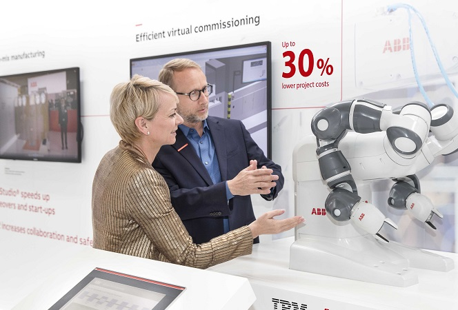 Pictured, Harriet Green, General Manager Watson IoT, Customer Engagement and Education, IBM; and Guido Jouret, Chief Digital Officer, ABB, discuss the future of cognitive and industrial machines. Credit: IBM