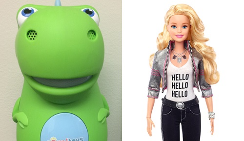 CogniToys Dino and Hello Barbie record conversations that children have with them and store it in the cloud. Source: University of Washington