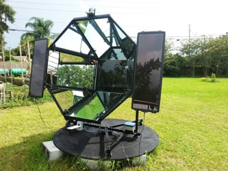 Armstrong's self-tracking solar-powered oven. Image Credit: Harry Armstrong