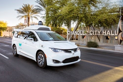 Waymo's fully self-driving Chrysler Pacifica Hybrid minivan on public roads. Image credit: Waymo