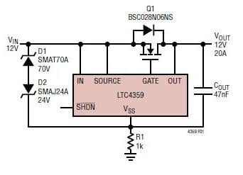 Figure 4: The LTC4539 Ideal Diode Controller with Reverse Input Protection is an example of how active components can provide the benefits of a conventional circuit-protection component, such as a Schottky diode), but without its drawbacks. (Source: Linear Technology Corp.)