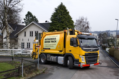 The self-driving garbage truck is fitted with sensors that drive to the next big for collection. Source: Volvo