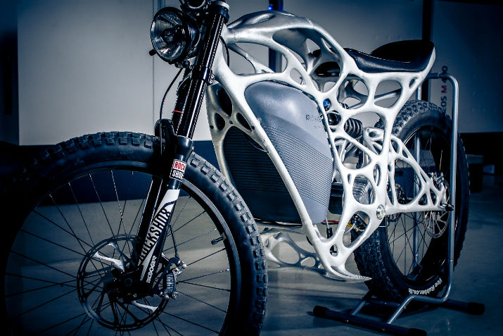 The world's first 3-D-printed electric motorcycle. (Image Credit: Airbus APWorks)