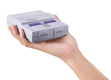 "The Super NES Classic Edition is just like the original console, except it fits in the palm of your hand. Source: Toys""R""Us"