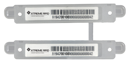 An example of an RFID tag that can be attached to a pallet, box or package. Source: Xtreme RFID