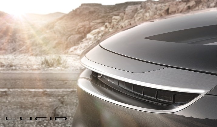 An early look at the front of Lucid Motor's luxury model electric vehicle. Source: Lucid Motors