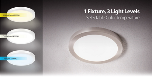 The Edge Lit Flat Panel Fixtures can be installed with pre-chosen light temp or be adjusted by wall switch. Source: Feit