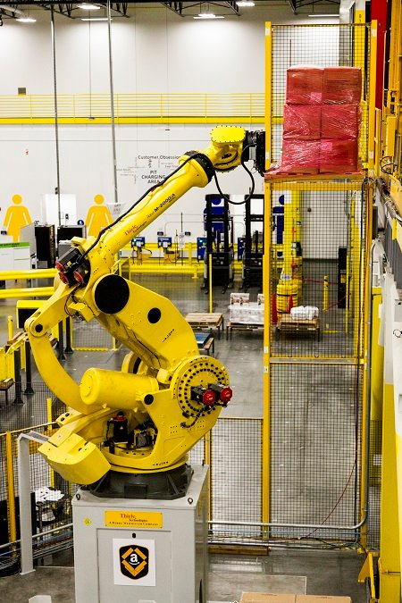 Amazon uses robots as warehouse workers. Image credit: Amazon.com.