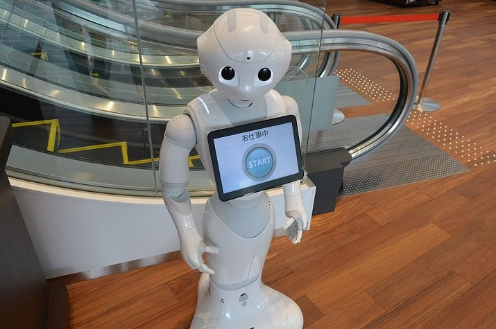 Humanoid companion robot Pepper. Image credit: Asturio Cantabrio, CC BY-SA 4.0 via Wikimedia Commons.