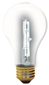 The halogen lamp offers better energy efficiency than the incandescent bulb. Unfortunately the excessive heat generated by halogen lamps restricts the applications in which the technology can be used. Image source: GE Lighting