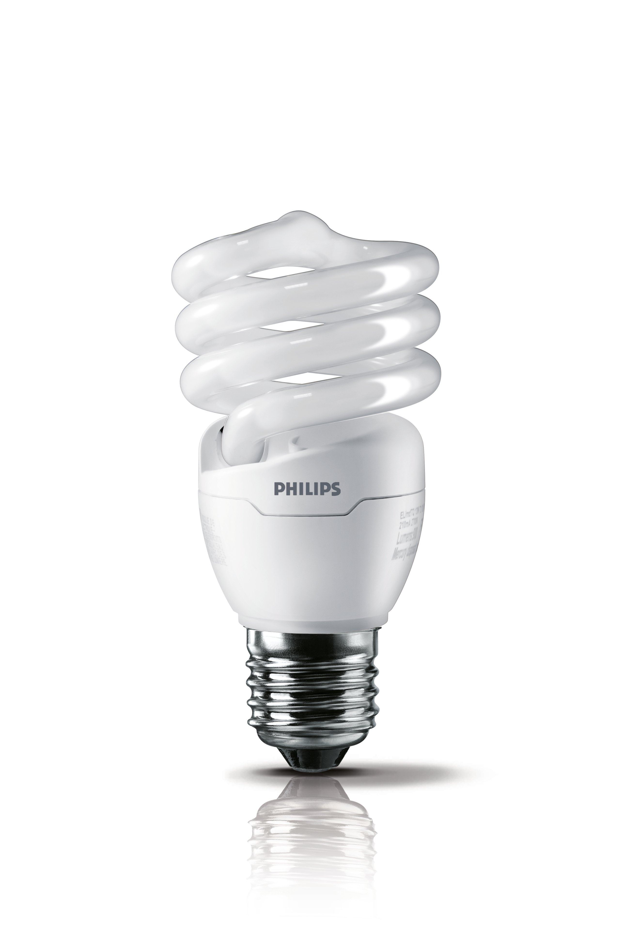 Compact fluorescent lamps use a curved or folded tube to fit into the space typically allotted for incandescent bulbs. While advances in phosphor formulations have improved the perceived color of the light emitted by CFLs and significant energy efficiency has been achieved, the use of hazardous materials to produce the bulbs complicates disposal. Image source: Philips