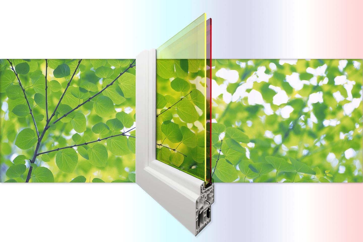 Researchers at Los Alamos National Laboraotry are creating double-pane solar windows that generate electricity with greater efficiency and also create shading and insulation. Source: Los Alamos National Laboratory