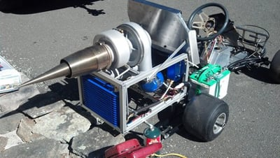 Tomko used the G2 engine to power up a jet kart in his driveway. Credit image: Chris Tomko