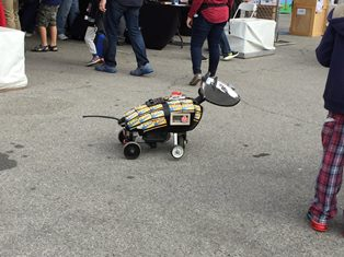 A robotic dog created by Adrian Landon.