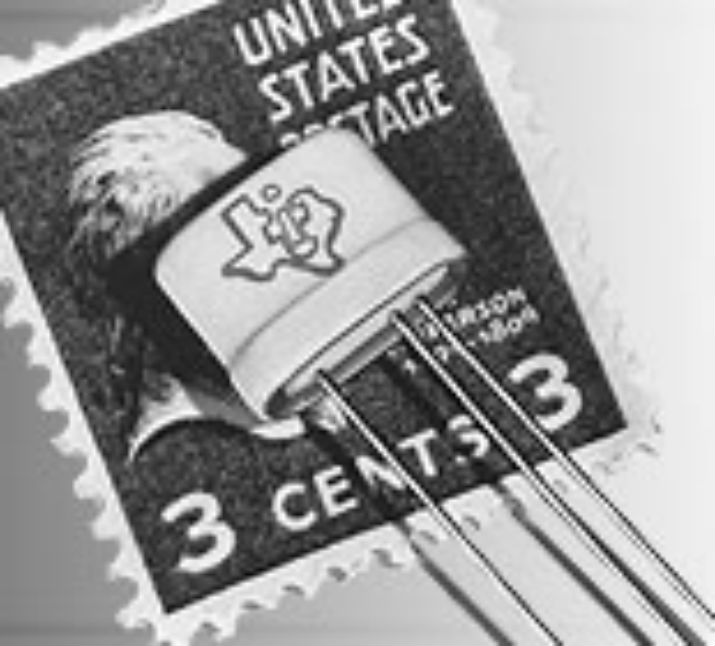 In 1954, Texas Instruments announced availability of the silicon transistor. This image of a silicon transistor was compared to a three-cent U.S. postage stamp to show its size. (Image Credit: Texas Instruments)