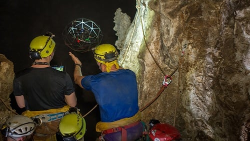 Researchers launch the drone into the cavern to test its durability. Source: ESA