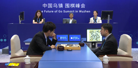 Ke Jie competes against AlphaGo in their first match at the Future of Go Summit. (Source: The Next Web)