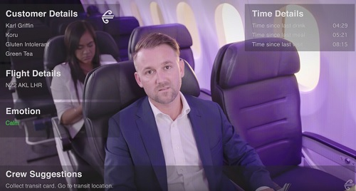 The AR system displays customer preferences and emotional state. Source: Air New Zealand