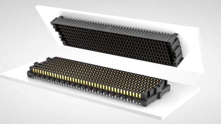 High-speed board-to-board connectors offer system-level throughput of 896 Gbps.