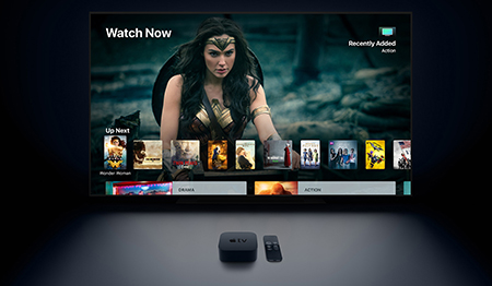 "The new Apple TV promises a stunning cinematic experience, even if you're not watching ""Wonder Woman."" Image credit: Apple Inc."