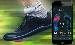 Caption 1: The combination of wearable pressure sensors and conductors, connected to an ankle bracelet that streams data to a phone app, forms the heart of Sensorias work on a smart orthotic to monitor gait and prevent devastating falls.