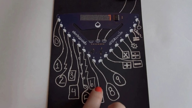 The calculator kit using conductive ink. Source: Electroninks