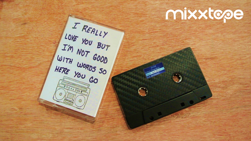 A functional music player in the form of a cassette tape that actually plays in tape decks. Source: Mixxim